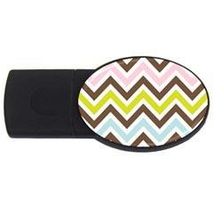 Chevrons Stripes Colors Background Usb Flash Drive Oval (2 Gb) by Amaryn4rt