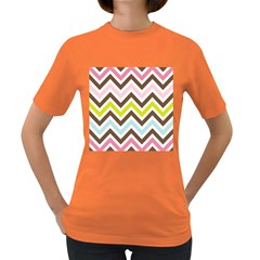 Chevrons Stripes Colors Background Women s Dark T Shirt by Amaryn4rt