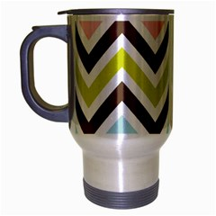 Chevrons Stripes Colors Background Travel Mug (silver Gray) by Amaryn4rt