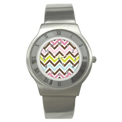 Chevrons Stripes Colors Background Stainless Steel Watch by Amaryn4rt