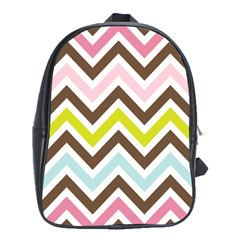 Chevrons Stripes Colors Background School Bags(large)  by Amaryn4rt