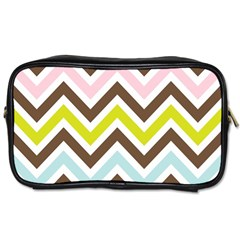 Chevrons Stripes Colors Background Toiletries Bags by Amaryn4rt