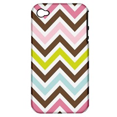 Chevrons Stripes Colors Background Apple Iphone 4/4s Hardshell Case (pc+silicone) by Amaryn4rt