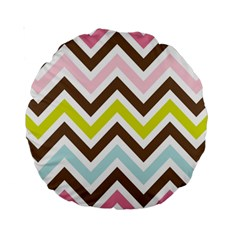 Chevrons Stripes Colors Background Standard 15  Premium Round Cushions by Amaryn4rt