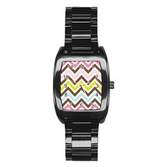 Chevrons Stripes Colors Background Stainless Steel Barrel Watch by Amaryn4rt