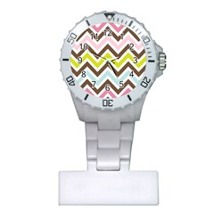 Chevrons Stripes Colors Background Plastic Nurses Watch by Amaryn4rt