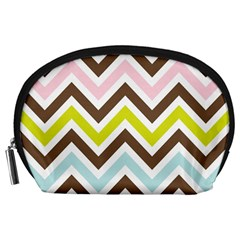 Chevrons Stripes Colors Background Accessory Pouches (large)  by Amaryn4rt