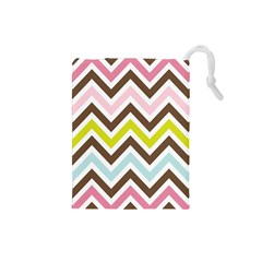 Chevrons Stripes Colors Background Drawstring Pouches (small)  by Amaryn4rt
