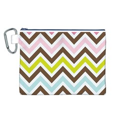 Chevrons Stripes Colors Background Canvas Cosmetic Bag (l) by Amaryn4rt