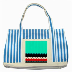Pattern Digital Painting Lines Art Striped Blue Tote Bag by Amaryn4rt
