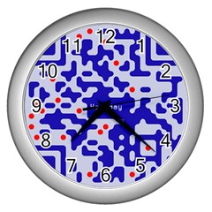 Digital Computer Graphic Qr Code Is Encrypted With The Inscription Wall Clocks (silver)  by Amaryn4rt