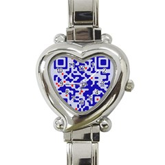 Digital Computer Graphic Qr Code Is Encrypted With The Inscription Heart Italian Charm Watch by Amaryn4rt