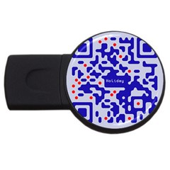 Digital Computer Graphic Qr Code Is Encrypted With The Inscription Usb Flash Drive Round (4 Gb) by Amaryn4rt