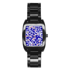 Digital Computer Graphic Qr Code Is Encrypted With The Inscription Stainless Steel Barrel Watch by Amaryn4rt