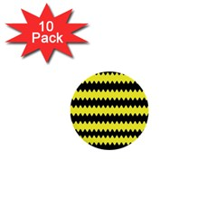 Yellow Black Chevron Wave 1  Mini Buttons (10 Pack)  by Amaryn4rt