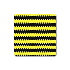 Yellow Black Chevron Wave Square Magnet by Amaryn4rt