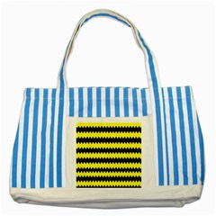 Yellow Black Chevron Wave Striped Blue Tote Bag by Amaryn4rt