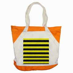 Yellow Black Chevron Wave Accent Tote Bag by Amaryn4rt