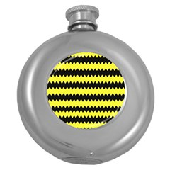Yellow Black Chevron Wave Round Hip Flask (5 Oz) by Amaryn4rt