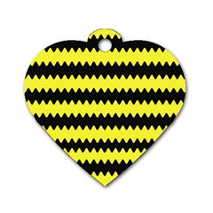 Yellow Black Chevron Wave Dog Tag Heart (two Sides) by Amaryn4rt