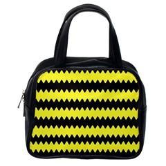 Yellow Black Chevron Wave Classic Handbags (one Side) by Amaryn4rt