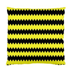 Yellow Black Chevron Wave Standard Cushion Case (two Sides) by Amaryn4rt
