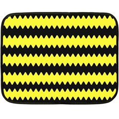 Yellow Black Chevron Wave Fleece Blanket (mini)
