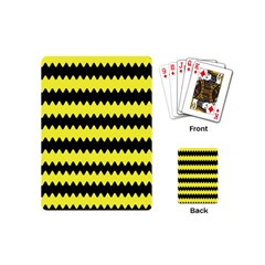 Yellow Black Chevron Wave Playing Cards (mini)  by Amaryn4rt