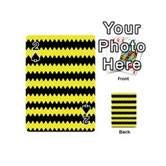 Yellow Black Chevron Wave Playing Cards 54 (mini)  by Amaryn4rt