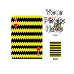 Yellow Black Chevron Wave Playing Cards 54 (Mini)  Front - Heart7