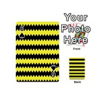 Yellow Black Chevron Wave Playing Cards 54 (Mini)  Front - Spade6