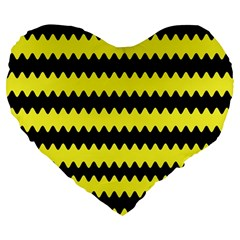 Yellow Black Chevron Wave Large 19  Premium Heart Shape Cushions by Amaryn4rt
