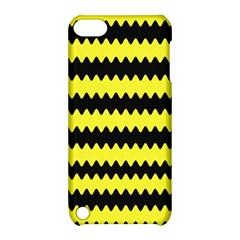 Yellow Black Chevron Wave Apple Ipod Touch 5 Hardshell Case With Stand by Amaryn4rt