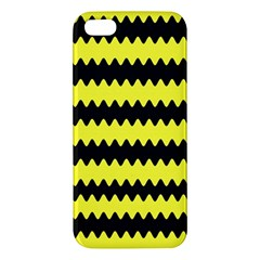 Yellow Black Chevron Wave Iphone 5s/ Se Premium Hardshell Case by Amaryn4rt