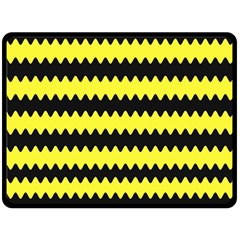 Yellow Black Chevron Wave Double Sided Fleece Blanket (large)  by Amaryn4rt