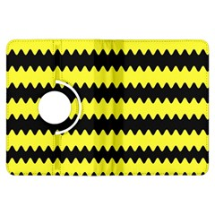 Yellow Black Chevron Wave Kindle Fire Hdx Flip 360 Case by Amaryn4rt