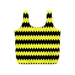 Yellow Black Chevron Wave Full Print Recycle Bags (s)  by Amaryn4rt