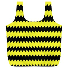Yellow Black Chevron Wave Full Print Recycle Bags (l)  by Amaryn4rt