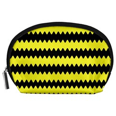 Yellow Black Chevron Wave Accessory Pouches (large)  by Amaryn4rt