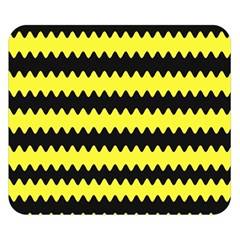 Yellow Black Chevron Wave Double Sided Flano Blanket (small)  by Amaryn4rt