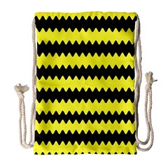 Yellow Black Chevron Wave Drawstring Bag (large) by Amaryn4rt