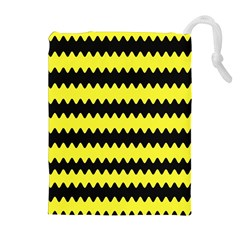 Yellow Black Chevron Wave Drawstring Pouches (extra Large) by Amaryn4rt