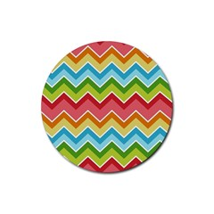 Colorful Background Of Chevrons Zigzag Pattern Rubber Coaster (round)  by Amaryn4rt