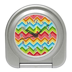 Colorful Background Of Chevrons Zigzag Pattern Travel Alarm Clocks by Amaryn4rt