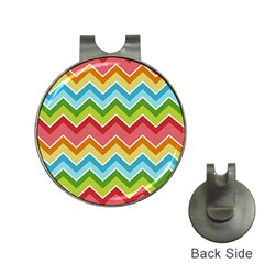 Colorful Background Of Chevrons Zigzag Pattern Hat Clips With Golf Markers by Amaryn4rt