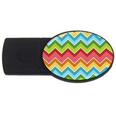 Colorful Background Of Chevrons Zigzag Pattern Usb Flash Drive Oval (4 Gb) by Amaryn4rt