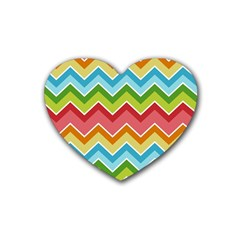 Colorful Background Of Chevrons Zigzag Pattern Rubber Coaster (heart)  by Amaryn4rt
