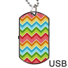 Colorful Background Of Chevrons Zigzag Pattern Dog Tag Usb Flash (one Side) by Amaryn4rt