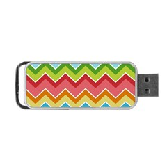 Colorful Background Of Chevrons Zigzag Pattern Portable Usb Flash (one Side) by Amaryn4rt