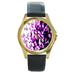 Bokeh Background In Purple Color Round Gold Metal Watch by Amaryn4rt